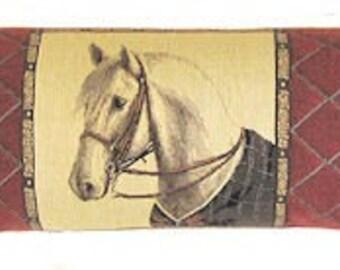 horse draft stopper - belgian tapestry draught stopper - white horse tapestry draught excluder - BOL-4955