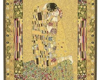 belgian gobelin wall tapestry The Kiss by Gustav Klimt wall hanging wall decor jacquard woven