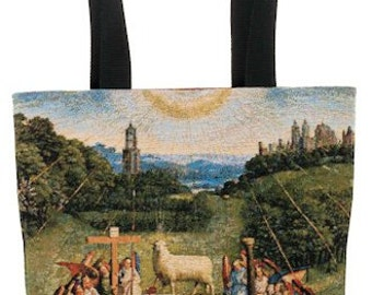 belgian gobelin tapestry tote bag The Adoration of The Mystic Lamb by Jan Van Eyck jacquard woven