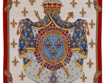 woven tapestry wall hanging - Coat of Arms wall hanging tapestry - wall decor Royal crest Coat of arms -  jacquard woven