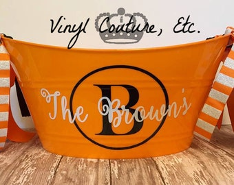 Personalized Monogrammed Candy/ Beverage Bucket/ Personalized Plastic Tub/  Candy bucket/ Beverage holder