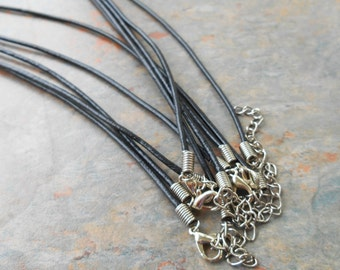 1 - Black Leather 16-18 inch adjustable necklace, 2mm, GENUINE leather, lobster clasp, Monkeyshine Beads