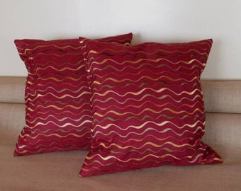 Embroidered Taffeta Pillow Cover set of 2.  Embroidered Decorative Pillow Cover.