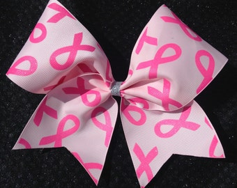 """Breast cancer 7"""" by 7"""" shimmery bow"""