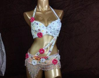 free shipping belly dance bra&belt ARM 4 piece set