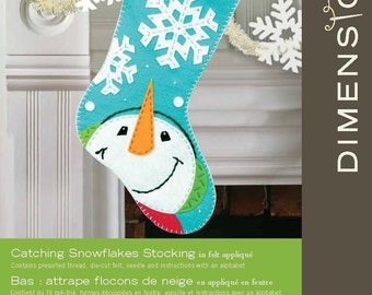 Catching Snowflakes Dimensions Crafts Felt Applique Stocking,