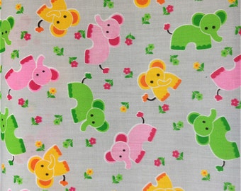 Grey Elephants Poly cotton Fabric Dress/Craft Fabric …