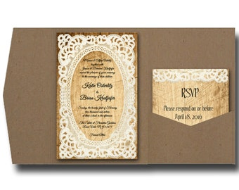 Pocketfold Wedding Invitations/Rustic wedding/ wood and lace/pocket invitations/rustic wedding invite/Pocket fold wedding invitation