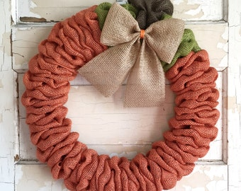 Pumpkin Wreath | Fall Wreath | Fall Burlap Wreath | Fall Decor | Pumpkin Burlap Wreath
