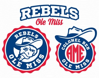 Mississippi Ole Miss Monogram Frames - SVG EPS DXF Studio3 - Rebels Cut Files for Silhouette Studio, Cricut Design Space, Cutting Machines