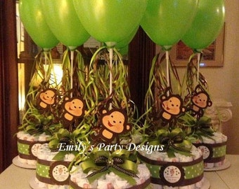 Monkey Baby Shower Diapers Centerpiece with Balloon Green/Brown, Diaper cake, Diaper Cake.
