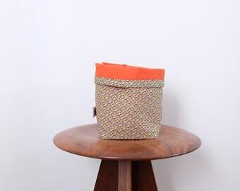 Small fabric basket - geometric and plain orange patterns