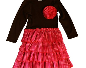 Brown Knit dress with pink woven ruffle skirt
