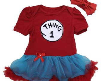 Thing 1 or Thing 2 or Thing 3 Tutu Dress With Headband Newborn To 18 Months - Halloween Twins
