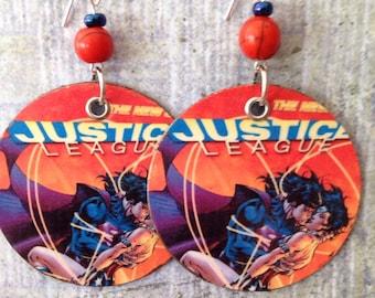 Up-cycled Justice League Earrings, comic book earrings, Superman, Wonder Woman