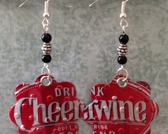 Up-cycled Cheerwine Soda Can Earrings, recycled cans