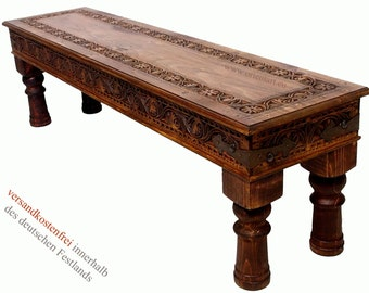 160x40 cm cm antique-look orient colonial solid wood hand-carved Coffee Table  console bench hall table plank table console afghanistan 16-J