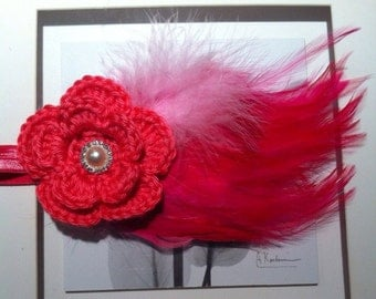 Large pink feather headband, crochet pink flower and feather headband