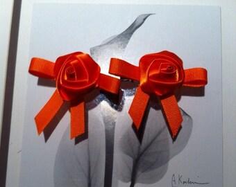 Orange rose hair clips, alligator clips, halloween hair clips.