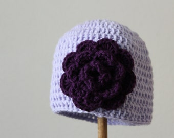 "Baby Girl Hat"" Kaylee""Baby Shower Gift/0-3 months/Acrylic Lavender Yarn and deep purple yarn for the large flower/"
