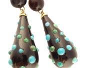 Antique Earrings Ear Pendants Gold w cabochon Turquoise Bubbles (#5601)