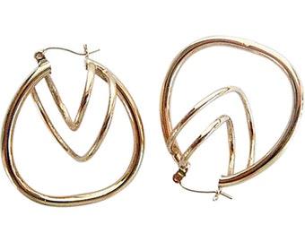 Vintage Tubular Hoop Earrings - 14k Gold Triple Size & Direction (#4949)