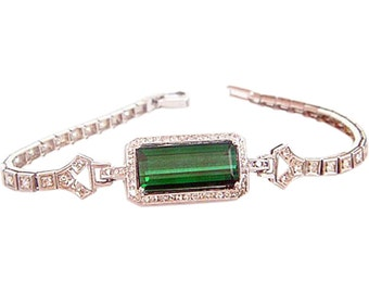 Antique Bracelet Platinum Diamonds Tourmaline early 20C  (#4759)