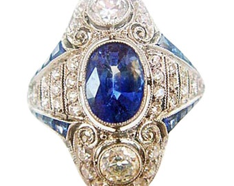 Antique Art Deco Ring Platinum Diamonds Sapphires 1920's (#4800)