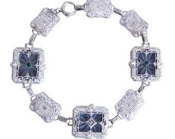 Antique Art Deco w Gold Rock Crystal Bracelet Diamond (#4119)