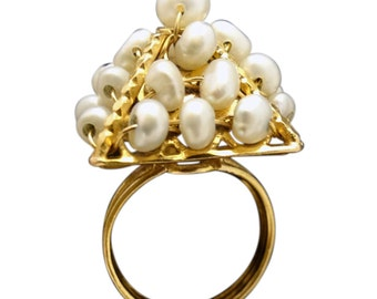 Antique / Vintage Ring Large Pyramid of 18-21k Gold Natural Pearls (#5629)