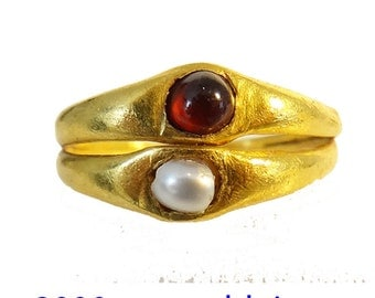 Antique Antiquity Roman Gold Pearl Garnet Ring 2000 Years Old Wedding (#5658)
