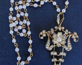 Antique Victorian Natural Pearl Pendant Necklace Brooch 15ct Gold Chain (#5698)