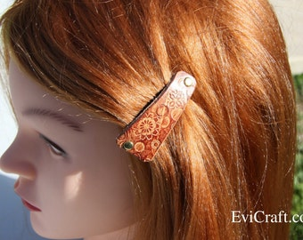 SALE - Handmade Leather French hair barrette, Leather Hair clip, women Hair Accessory, hair fashion, brown leather accessory