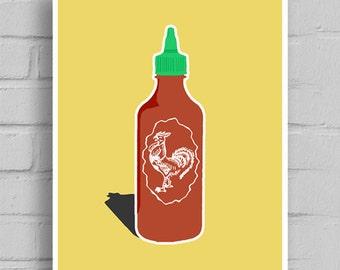 Sriracha Art, Sriracha, Sriracha Sauce, Rooster Sauce, Hot Sauce, Canvas Art, Printable Art,