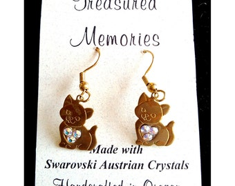 Kitty Earrings with Swarovski Crystals