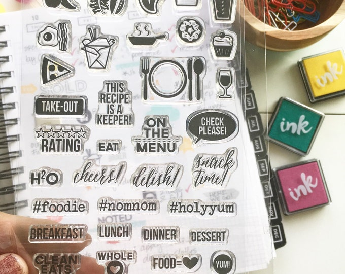 FOODIE 4x6 Photopolymer stamp set/Planner Accessories: Erin Condren, Filofax, planners