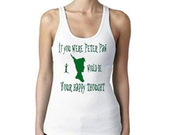 Peter Pan, Happy  Thought T-shirt - Women's White Tank Top - Disney Tank Top