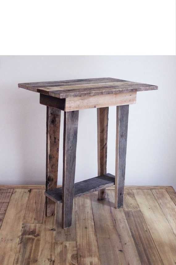 Items similar to tapered leg reclaimed barnwood end table for Tall white end table