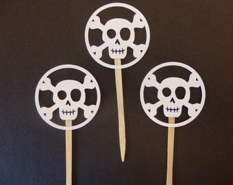 White Skull & Crossbones Cupcake Topper - Halloween - Pirate Party