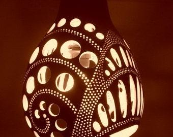Spiral,Handmade Gourd Chandelier,Fairy Lights,Gourd Art,Artistic Chandelier,Art Deco Light,Lampshade,Modern Home Decor,Fabulous Gift,lamp