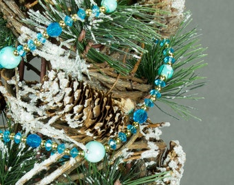 Turquoise and Gold Beaded Garland, Christmas Garland, Christmas Decorations