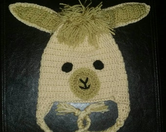Crocheted llama hat available in sizes newborn to adult, made to order