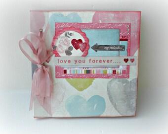 Scrapbook mini album, Love mini album, Premade album,Photo book,Memories album, Square 6x6, Valentines day gift, Ready to ship,Gift for her