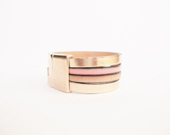 Leather cuff bracelet rose gold leather