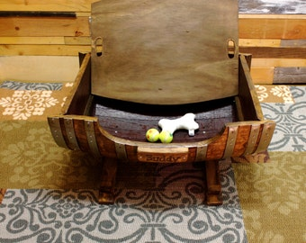 Personalized Large Wine Barrel Dog Bed