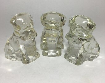Vintage 1940s Puppy Candy Containers - Federal Glass