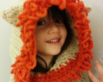 Lion hooded cowl - crochet