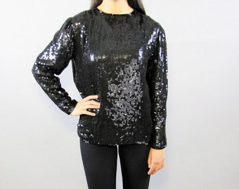 Sale! 90s, Vintage Black Sequins Top // Cocktail Party, Blouse, Women's Size Small