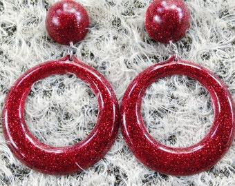 Vintage inspired red glitter resin dangle earrings