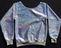 "Holographic ""Unicorn Pearl"" Sparkle Glitter Rave Summer Festival Iridescent Hologram Top"